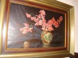 Oud schilderij vaas met lathyrus       VERKOCHT