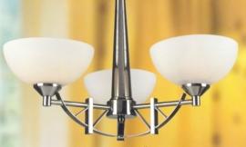Mat nikkel hanglamp met 3 glazen schalen nr:20325/3