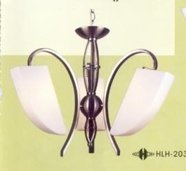 Mat nikkel hanglamp met 3 glazen kappen nr:20314/3