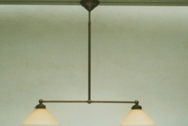 T-lamp 65cm breed oud bruin met mat champagne dakkap 25cm nr 901.02