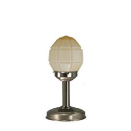 Tafellamp strak mat nikkel bs20 h32cm champagne granaat kap nr 7Tu-136.50