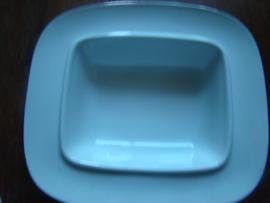 Porceleinen botervloot Bavaria Vera zilver.