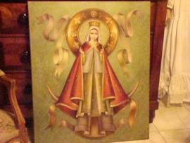 Oud schilderij met afbeelding van de maagd Maria