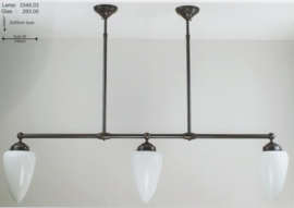 T-lamp dub. ophanging br-140cm donker brons opaal witte traankap nr 3349.03