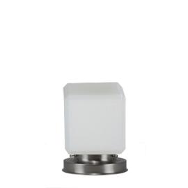 Getrapte tafellamp model blok mat nikkel met opaal kap Kubus 15cm nr 7Tp1-1504.00