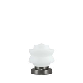 Getrapte tafellamp model blok mat nikkel met opaal kap Diabolo 17cm nr 7Tp1-465.00
