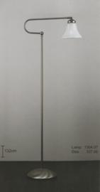 Vloerlamp lees Trombone mat nikkel met opaal witte mini kelk nr 1304.07