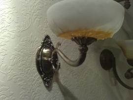 Retro wandlamp antiek messing met glazen kap nr:20368/1