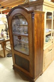 Antieke 1-deurs vitrinekast noten 1890-1900 origineel glas en toog nr 10016
