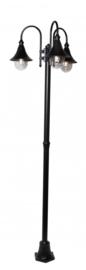 Buitenlamp mast h-248cm serie Calice II 3-lichtpunten in 2 kleuren leverbaar nr: FL703