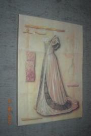 Prent met roze jurk