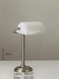 burolamp bankiersglas opaal en vaste voet mat nikkel nr 380.07 + 420.00