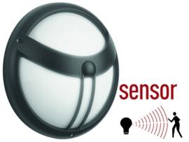 Buitenlamp sensor wand schemerschakelaar Alu rond 30cm nr 9008sen