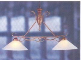 T-lamp kasteelserie 2-lichts met glazen kappen nr:20413/2