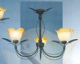 Bronskleurige hanglamp 3-lichts met gekleurde kapjes nr:20312/3
