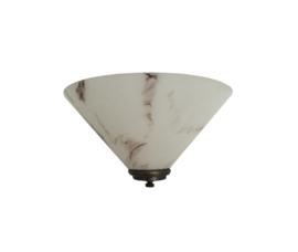 Wandlamp dakkap 30cm met ophanging wit opaal gemarmerd glas nr H30.10 compl.