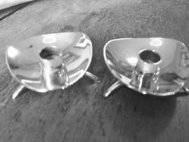 Kleine  kandelaartjes  silverplate merk ATLA Denemarken.