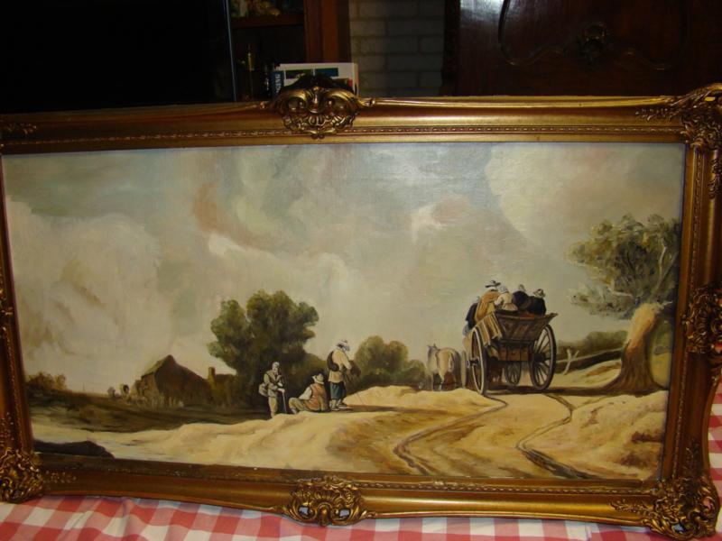 Schilderij  Paardenkar op landweg.