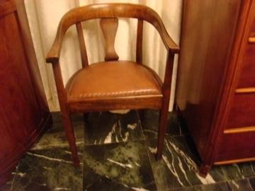 Welp Eiken bureaustoel met bruin leren bekleding VERKOCHT | oude en UV-39