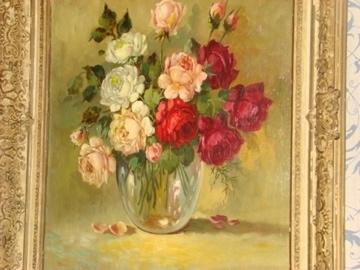 Oud schilderij  vaas met rozen.  VERKOCHT