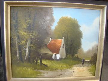 Oud schilderijtje landschap met oud huisje.