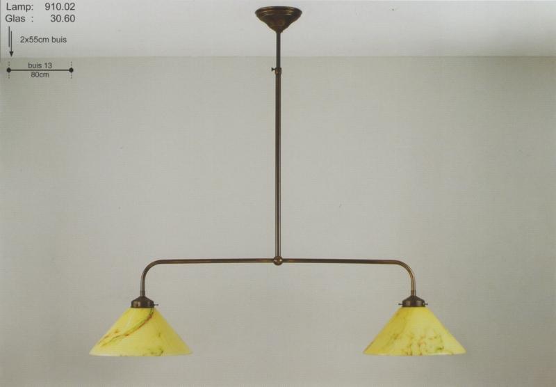T-lamp 2-L boog br-80cm oud bruin gemarmerde dakkap nr 910.02
