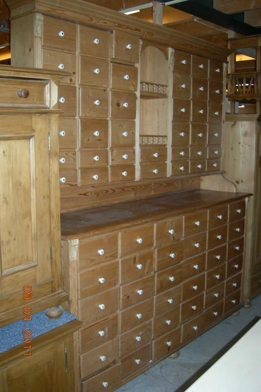 Antiek Grenen Winkelkast.Oude Grenen Winkelkasten