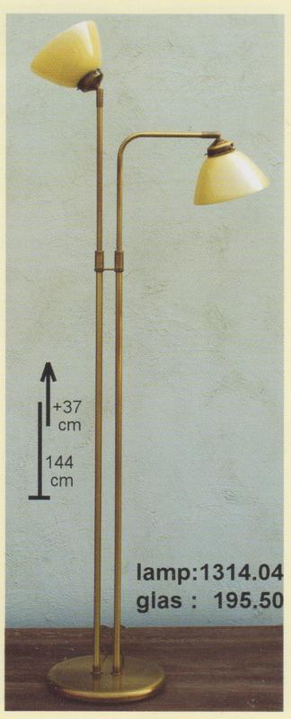vloerlamp oud messing met leesarm beide champagne kappen verstelbaar nr 1314.04