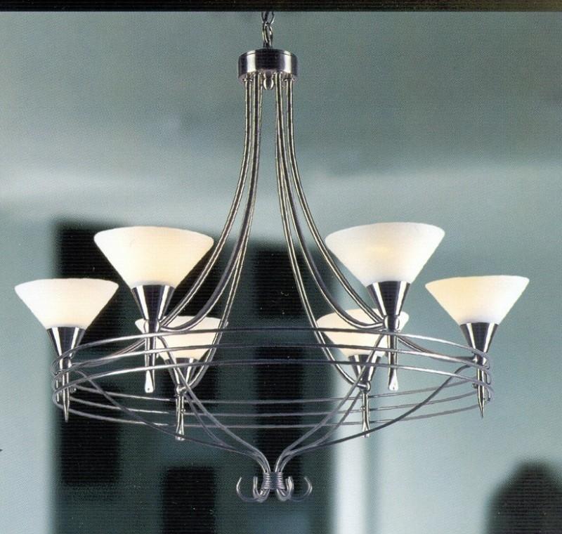 Mat nikkel hanglamp met 6 glazen kapjes nr:20387/6A