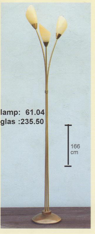 Vloerlamp 3-spriet oud messing h-180cm glas schep mat champagne nr 61.04
