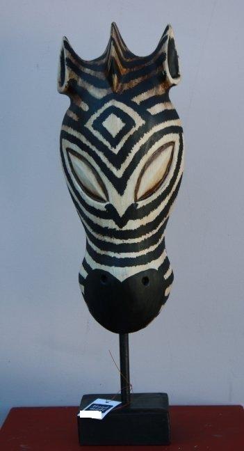 Masker op standaard zebra 30cm antiek white wash