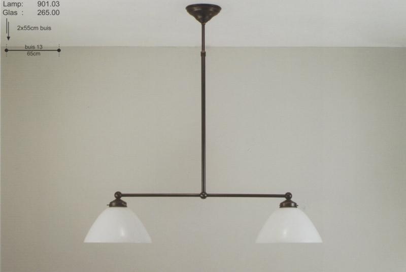 T-lamp 2-d 65cm breed donker brons met opaal witte calimero kap nr 901.03