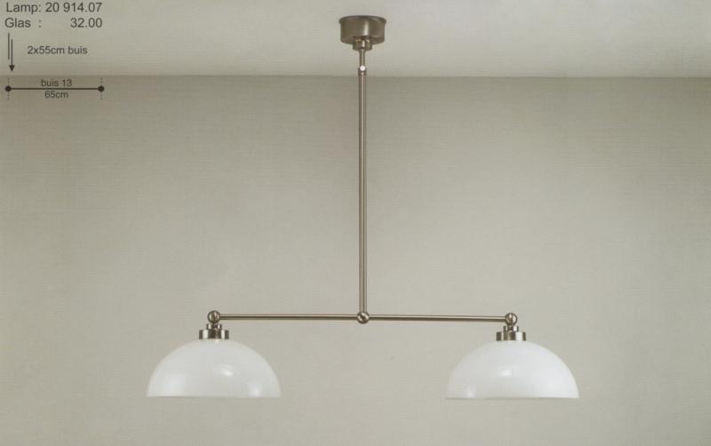 T-lamp 2-d br-65cm mat nikkel met opaal witte coupe kap nr 20914.07