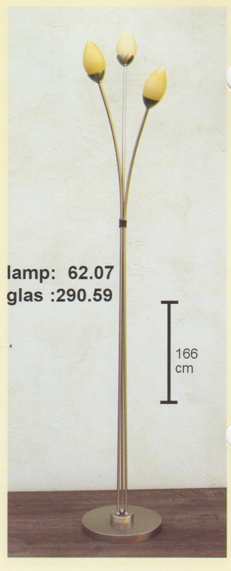 Vloerlamp 3-spriet mat nikkel h-176cm glas traan mat champagne nr 62.07