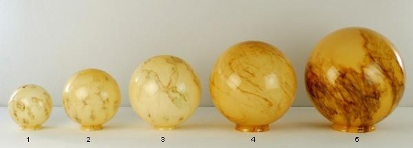 Glazen bol rond licht gemarmerd diameter 35cm nr5 op foto 3500.60