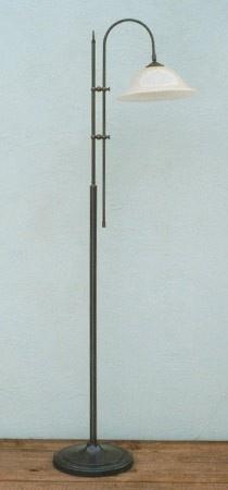 Vloerlamp lees boog antiek brons met champagne kardinaals kap nr 8.03