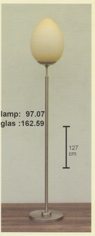 Vloerlamp h-127 mat nikkel trap voet mat champagne kap ei nr 97.07