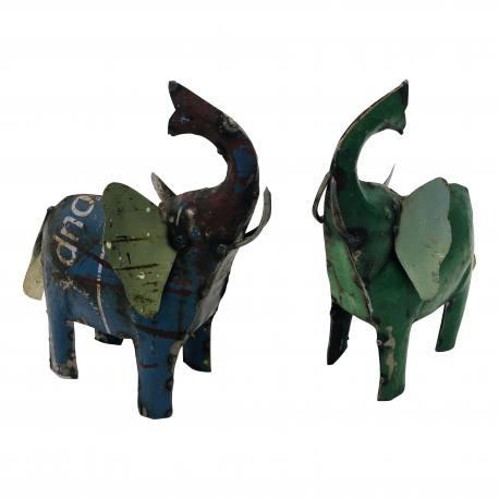 handgemaakt olifantje van oud ijzer blik h23cm nr 5181
