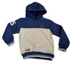 (2)Sweater met capuchon en applicatie grijs/blauw valt mooi op maat.