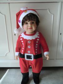 Onesie velours kerstman baby kerstkleding 0/3 Maanden