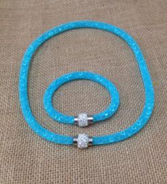 Set 1 ketting en 1 armband met Crystal stenen gevulde magnetische sluiting Charm Stardust voor de vrouw. kleur zeegroen