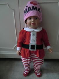 Onesie velours baby kerstkleding 00/03 Maanden
