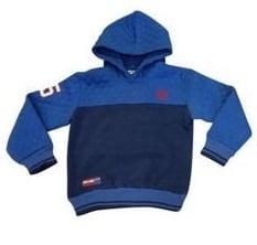(3)Sweater met capuchon en applicatie blauw/blauw valt mooi op maat.