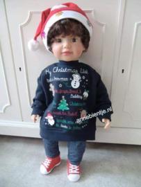 Kersttrui BABY Christmus List Donkerblauw