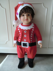 Onesie velours kerstman baby kerstkleding 3/6 Maanden