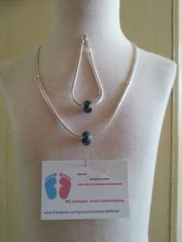 (8)Mooie zwaar VERZILVERDE Mandina halsketting 50 cm en armband van 18 cm.