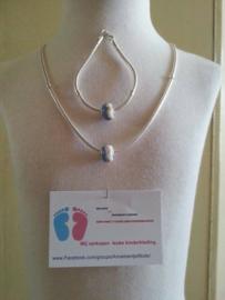 (9)Mooie zwaar VERZILVERDE Mandina halsketting 50 cm en armband van 18 cm.