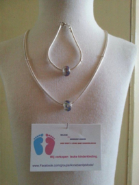 (5)Mooie zwaar VERZILVERDE Mandina halsketting 50 cm en armband van 18 cm.
