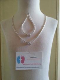 (3)Mooie zwaar VERZILVERDE Mandina halsketting 50 cm en armband van 18 cm.