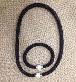 1 ketting en 1 armband met Crystal stenen gevulde magnetische sluiting zwart